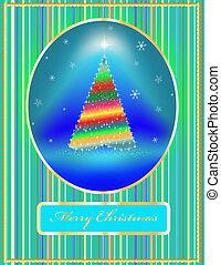 card a fir-tree with toys