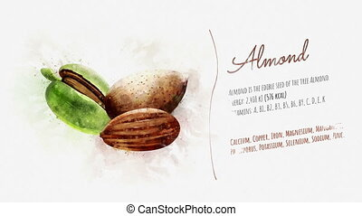 Card about the energy value of Almonds - A finished card...