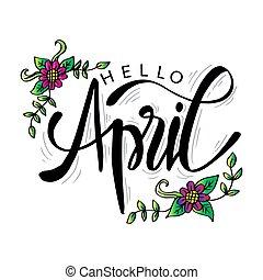 card., abril, mano, hola, letras, saludo