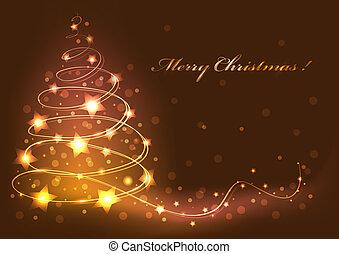 card., abstratos, árvore, ilustração, vetorial, natal