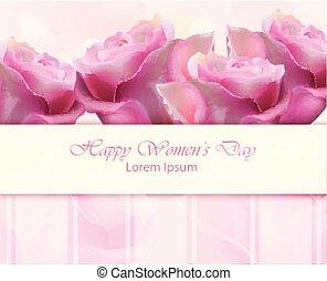 card., acquarello, rose, vettore, illustrazioni, donne, giorno, felice