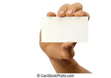 card., affari, isolato, mano, bianco, uomo, mostra