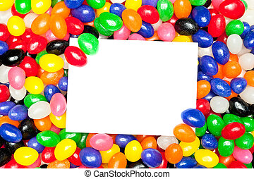 Card and jellybeans - A blank message card in a pile of...