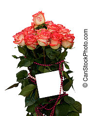 Card and roses bouquet