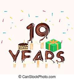 card., aniversário, anos, 19o, birthday., feliz