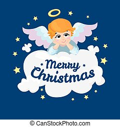 card., anjo, character., saudação, cupid, isolado, bebê, vetorial, feliz, natal., cloud., caricatura, asas, mentindo, illustration.