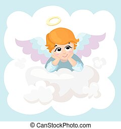 card., anjo, character., saudação, cupid, isolado, vetorial, ilustração, bebê, cloud., caricatura, asas, mentindo