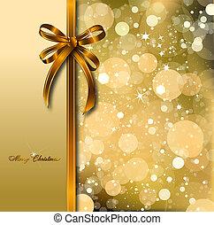 card., arany, varázslatos, íj, vektor, karácsony