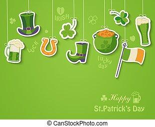 card., augurio, giorno patricks st, felice
