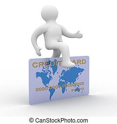 card., avbild, kreditera, hoppning, man, 3
