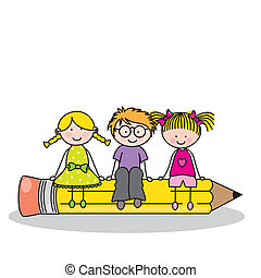 Card back to school. Children sitting on a pencil