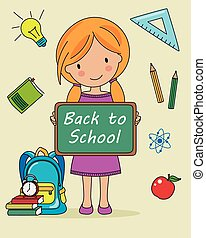 Girl with blackboard and objects for school