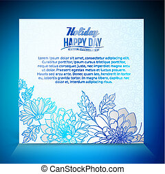 Card background from chrysanthemums - Card on a blue...