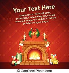 Card Background wit Christmas Decorative Fireplace