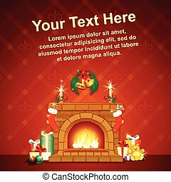 Card Background wit Christmas Decorative Fireplace
