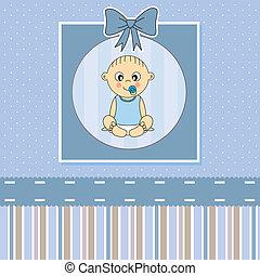 card., bebê, anúncio, menino, chegada