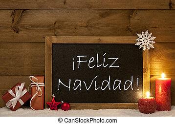 Card, Blackboard, Snow, Feliz Navidad Mean Merry Christmas