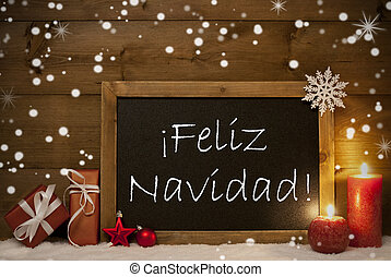 Card, Blackboard, Snowflakes, Feliz Navidad Mean Merry Christmas