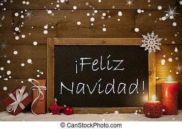 Card, Blackboard, Snowflakes, Feliz Navidad Mean Merry Christmas