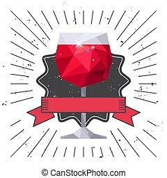 card., boisson, verre, aviateur, fête, vin rouge