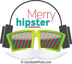 card., cartaz, natal, hipster, partido, ou