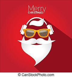 card., cartaz, saudação, hipster, feliz natal