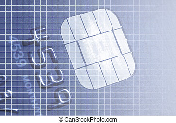 Card chip - Macro image of credit card electronic chip...
