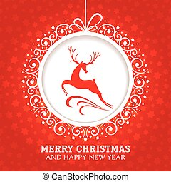 card christmas, hils, rådyr