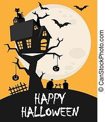 card., cima, pauroso, felice, halloween, casa albero