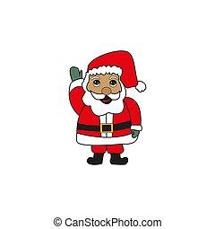 card., claus, ilustração, experiência., vetorial, retro, santa, christmas branco