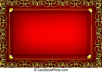card - Romantic background frame with golden hearts for...