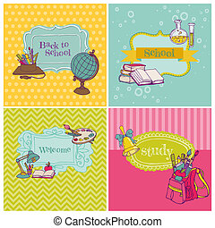Card Collection - Back to School - for design and scrapbook...