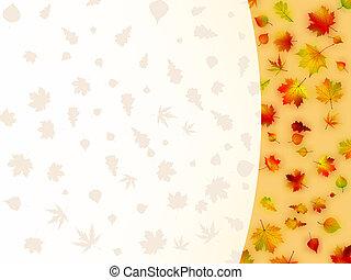 card., coloré, feuilles, eps, automne, 8