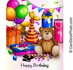 card., colorito, boxes., augurio, compleanno, regalo avvolto, felice