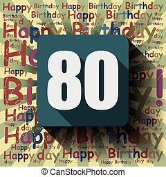 card., compleanno, fondo, 80, o, felice