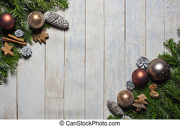 card concept for christmas greetings on wooden background