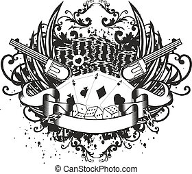 card counter and revolvers - Vector illustration wings ...