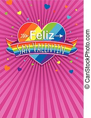 Card cover with message: Feliz Dia de San Valentin -Happy Valentines Day in Spanish language- on a rainbow heart surrounded with multicolor ribbon on a purple background with hearts - Vector image