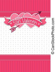 Card cover with message: Feliz San Valentin -Happy Valentines Day in Spanish language- on two hearts together surrounded with red ribbon on a white background with little hearts - Vector image