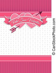 Card cover with message: Feliz San Valentin -Happy Valentines Day in Spanish language- on two hearts together surrounded with pink ribbon on a white background with little hearts - Vector image