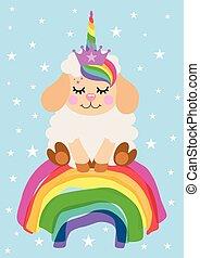 card, cute, siddende, enhjørning, lam, hils, regnbue