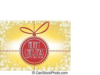 card-, décoration noël, joyeux, babiole, flocon de neige