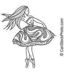 dancing girl in a dress - card, dancing girl in a dress....