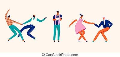 card., dansende, folk, par, bogstaverne, cartoon, illustration.