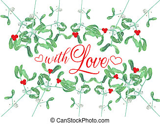 card decoraetd with mistletoe and red berries