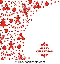 Card decorated with Christmas baubles