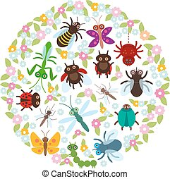 Card design in a circle Funny insects Spider butterfly dragonfly mantis beetle wasp ladybugs on white background. Vector