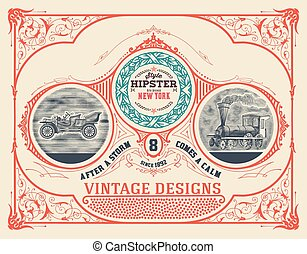 Card design with engraving and  floral details. Organized by layers. Vector