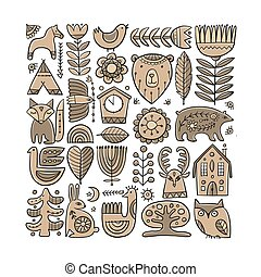 Card Design with Nordic Ornament. Forest Animals, Folk Background