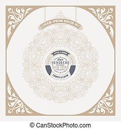 card., dettagli, hipster, ornamenti, floreale, barocco